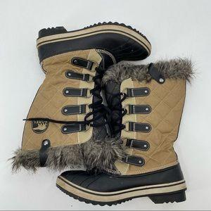 Sorel tofino cate winter snow boots tan/black size 8.5